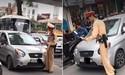 Tạm giữ xe do nữ tài xế điều khiển đẩy CSGT trên đường