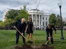 Clip: Tổng thống Trump và Macron cùng trồng cây tại Nhà Trắng