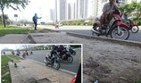 Đập bỏ vật nhọn nguy hiểm trên xa lộ Hà Nội