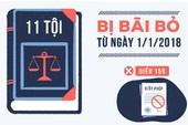 11 tội bị bãi bỏ từ ngày 1-1-2018