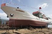 Hạ thủy tàu vỏ thép hậu cần nghề cá lớn nhất miền Trung