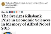 Giải Nobel Kinh tế 2015 có chủ mới