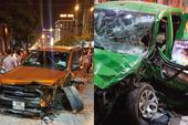 Xe bán tải chạy tốc độ cao gây họa cho taxi, xe máy