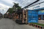 Container lật nhào, người đi đường tháo chạy