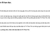 Báo điện tử Trí thức trẻ xin lỗi bạn đọc