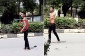 Nam thanh niên tự đâm vào bụng rồi la hét giữa đường