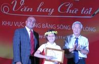 Cô bé 'thích làm mẹ' đạt giải nhất Văn hay - chữ tốt ĐBSCL