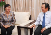 Bà Nguyễn Thị Quyết Tâm thăm báo Pháp Luật TP.HCM
