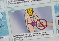 Hình ảnh hướng dẫn người nhập cư ứng xử trong bể bơi gây tranh cãi