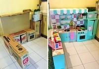 Tuyệt vời bộ ảnh 'xây' bếp bằng thùng carton