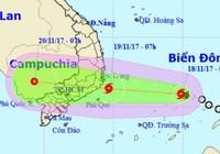 Bão số 14 cách bờ biển Khánh Hòa khoảng 620 km
