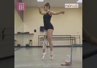 Clip: Nữ sinh múa ba lê với một chân bằng kim loại