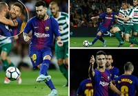 Messi lập poker, Barcelona 'chơi tennis'