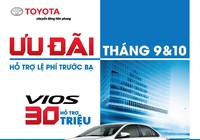 Toyota khuyến mãi mua xe Vios, Innova tháng 9 và 10