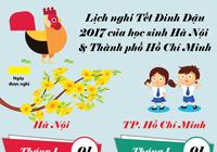 Lịch nghỉ tết Đinh Dậu của học sinh Hà Nội và TP.HCM