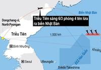 Đường bay 4 tên lửa Triều Tiên phóng ra biển Nhật Bản