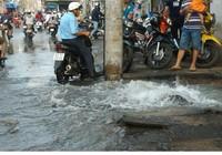 Nước máy phun ngập đường phố