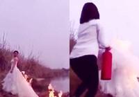 Clip: Cô dâu đốt váy tạo dáng chụp ảnh cưới gây xôn xao
