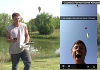 Độc đáo thanh niên câu cá bằng Drone