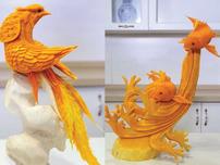 Điêu luyện với màn khắc trái bí thành hình chim, cá