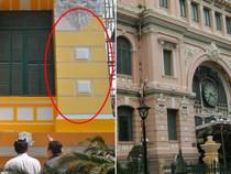 Sơn thử màu sơn khác trên tòa nhà bưu điện TP.HCM