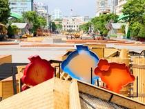 Đường hoa Nguyễn Huệ tết Bính Thân đang dần hoàn thiện