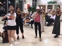 Nhóm bạn trẻ ngẫu hứng chơi đàn violon tại...