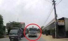 Vượt ẩu không xi nhan, xe tải suýt gây tai nạn