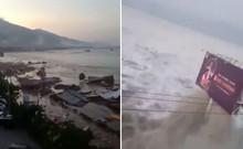 Khoảnh khắc sóng thần tấn công TP Palu ở Indonesia