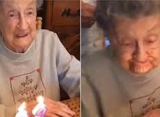 Cụ bà thổi nến sinh nhật, thổi bay cả hàm răng giả