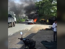 Vĩnh Long: Ô tô đang đi bỗng dưng bốc cháy