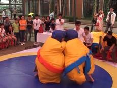 Sumo nhí tranh tài đấu vật quyết liệt