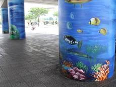 Gầm cầu Rồng và kè biển thành nơi triển lãm tranh 3D