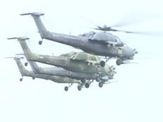 Màn trình diễn mạo hiểm của chiến đấu cơ,trực thăng Nga