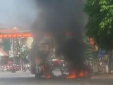Clip:Taxi nổ như bom ở Cẩm Phả, 2 người tử vong
