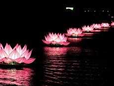 Thắp sáng 7 bông hoa sen trên sông Hương mở đầu mùa Phật Đản