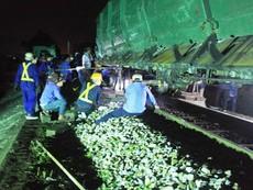 Tàu hỏa lật, đường sắt Bắc-Nam bị chia cắt