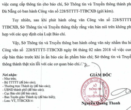 Đà Nẵng thu hồi công văn yêu cầu cung cấp bản thảo