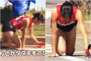 Chấn thương chân, cô gái Nhật Bản... bò về đích