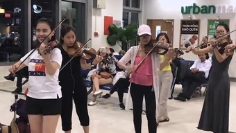 Nhóm bạn trẻ ngẫu hứng chơi đàn violon tại sân bay