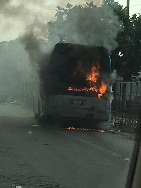 Xe khách bốc cháy dữ dội trên Quốc lộ 1A - ảnh 3