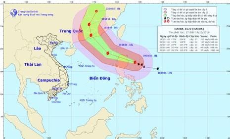 Siêu bão Haima có khả năng đổi hướng - ảnh 1
