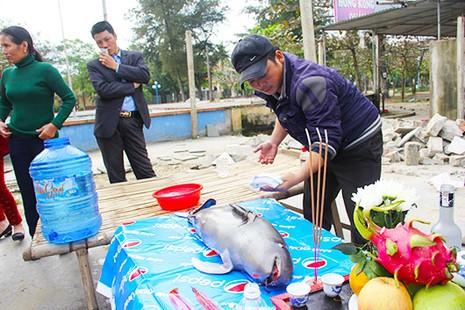 Xác cá ông dạt vào bờ biển được người dân làm lễ an táng - ảnh 1