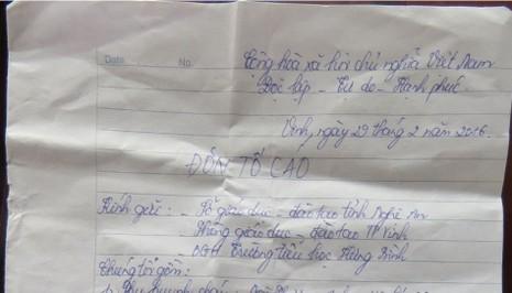 Phụ huynh viết đơn tố cáo thầy giáo dâm ô nữ sinh - ảnh 1