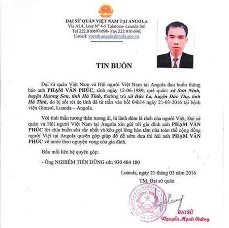 Thêm lao động người Việt bị tử vong ở Angola - ảnh 1