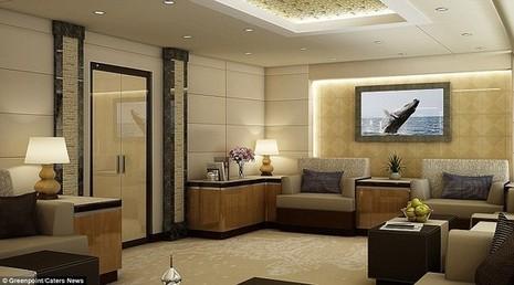 Phòng khách được bài trí trông giống như một khách sạn sang trọng.