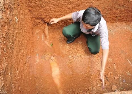 Anh Khoa với quả bom phát hiện khi đào bể xử lý nước thải.(Ảnh: Đậu Tất Thành/TTXVN)