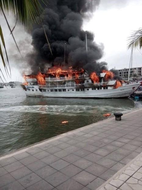 Du thuyền hạng sang bốc cháy, hành khách hoảng loạn lao xuống biển - ảnh 2