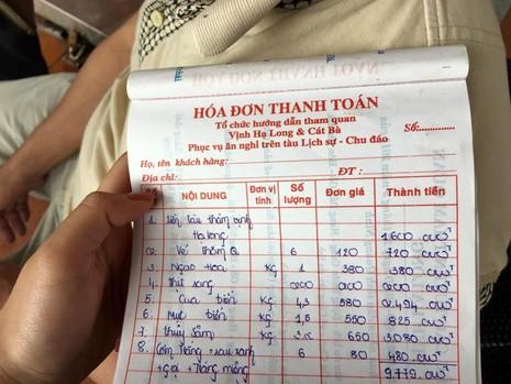 Hạ Long: Choáng với hóa đơn một bữa ăn hơn... 9 triệu đồng - ảnh 1