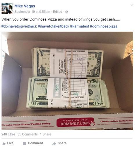 Bất ngờ thấy trong hộp bánh pizza gần 1300 USD - ảnh 1